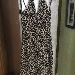 Silk leopard halter dress